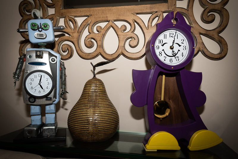 """Wyatt's robot """"Thomas"""" and Abi's clock, created by great aunt Ronna."""