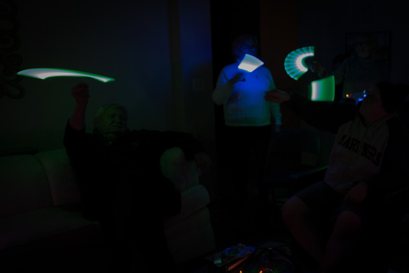 Painting with light in an almost darkened room.