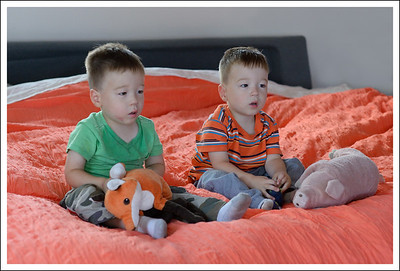 Tyler and Aiden in the bedroom with their foxy and piggy.