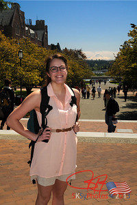 UW freshman, Delaney Cerna, on campus.  Red Square with Mt. Rainier in the background.  May 3, 2013