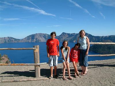 Philip, Laney, Liv & Wendy at Crater Lake, 2005