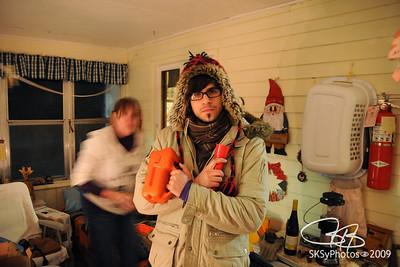 Phil, the Glofitti artist, prepares.  Saum, Minnesota.  12/25/09