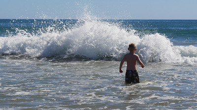 Sebastian braving the waves
