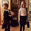 1st day of school!<br /> New school this year. They have to wear uniforms now.<br /> Mason, age 7, grade 2.<br /> Lila, age 10, grade 5.