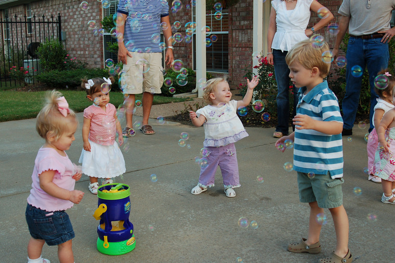 We had a family bbq  with our playgroup and aftern dinner the kids played in the bubbles
