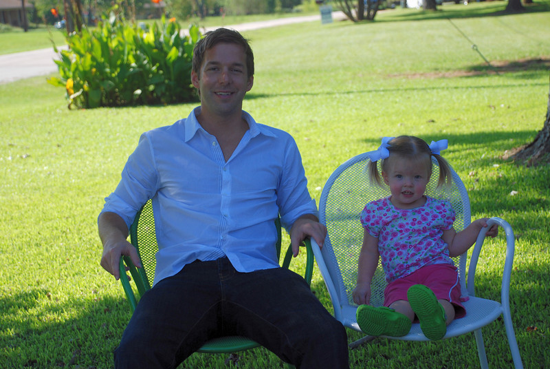 Uncle Jeremy and Claire enjoying the nice weather outside.