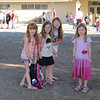 Waiting for the bell:  (l to r)  Delaney, Norah, Dari & Lena.<br /> Lena's first day was a week after, so she didn't want to get too close for this picture.