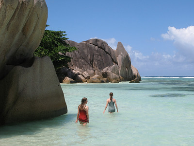 Juliet and Bella at La Digue beach in the Seychelles