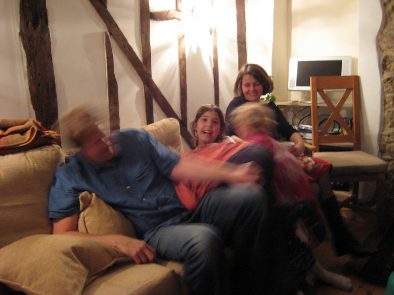 The cousins pile onto uncle Huw.