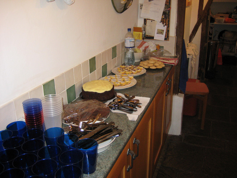 Food is prepared for the first party for Caellum.