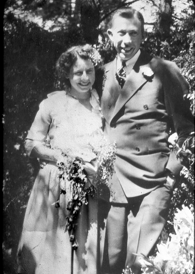 Wedding picture of Virginia L. Scheidecker and Mauritz L. Nelson.  They were married at the Vine Hill Home.<br /> Wedding Date: September 3, 1944.