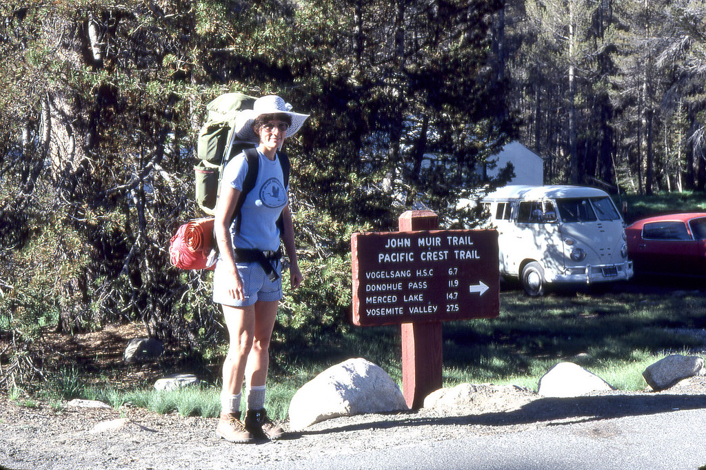 Carolyn Nelson as she is about to embark on a 23 mile adventure from Toulemne Meadows down to Yosemite Valley.  Backpack provided by Michael McChesney and yes, there is a story to that.