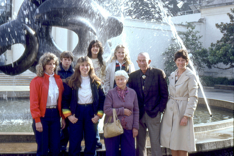 Nelson Family at the de Young Museum in San Francisco.  First row from the left: Lennia Nelson Hall, Lennia's daughter Lorraine, Virginia Scheidecker Nelson, Mauritz L. Nelson and Carolyn Nelson.<br /> Arron Hall, Gwendolyn L. Roeske and her friend.