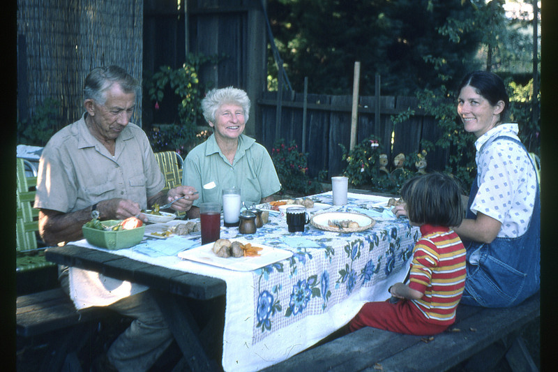 Mauritz and Virginia Nelson have lunch their daughter Carolyn and granddaughter, Gwen, at their home on Kennedy Road in Sebastopol, CA.