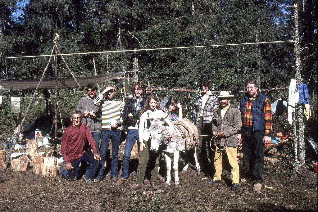 A group of scientest studying the overwintering of Monarch butterflies in the high mountains of Mexico.  Carolyn Nelson Roeske is the third from the right.