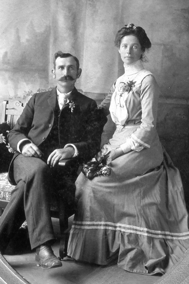 Wedding photograph of Albert F. Scheidecker and Mary L. Bower, April 9, 1902.  They would leave the next day for a honeymoon in Hawaii.