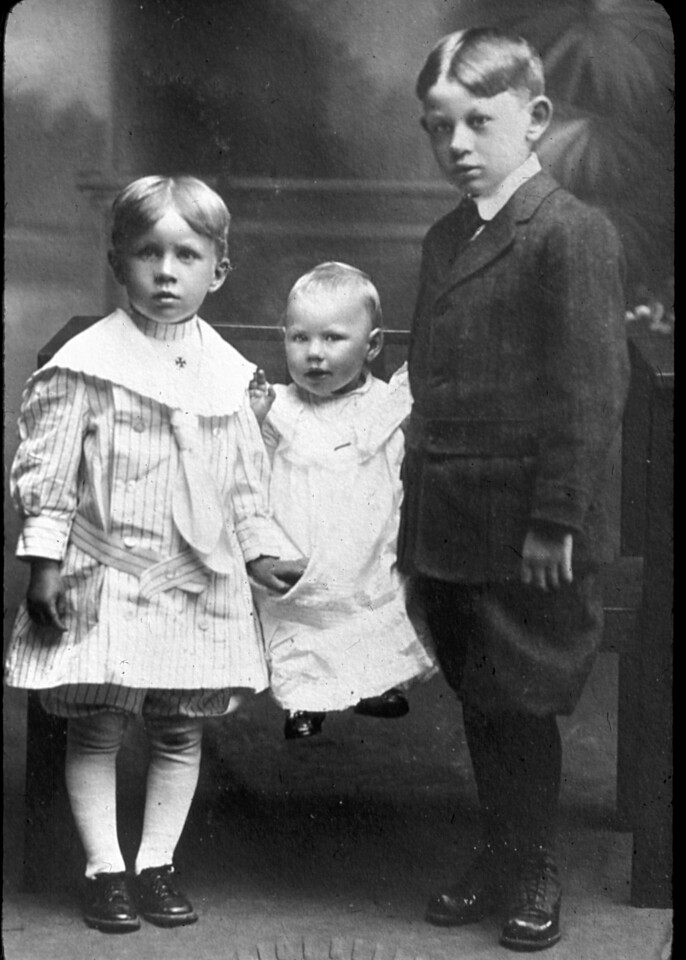 The Nelson kids, Mauritz Laverne, Irene Victoria and Walter L. Nelson about 1915.