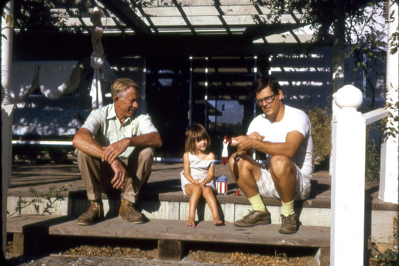 Mauritz Nelson with granddaughter Gwen and son-in-law, Bob Roeske, at the Blackburn house in Davis, CA.