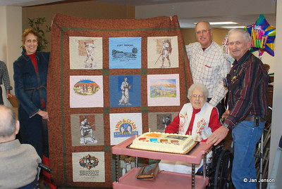 Barbara Robinson, Steve's wife, created this beautiful quilt for Mom's 90th birthday present, from Mom's old Lewis & Clark T-shirt collection, plus 4 new T-shirts, donated by the Lewis & Clark Center in Washburn, ND.