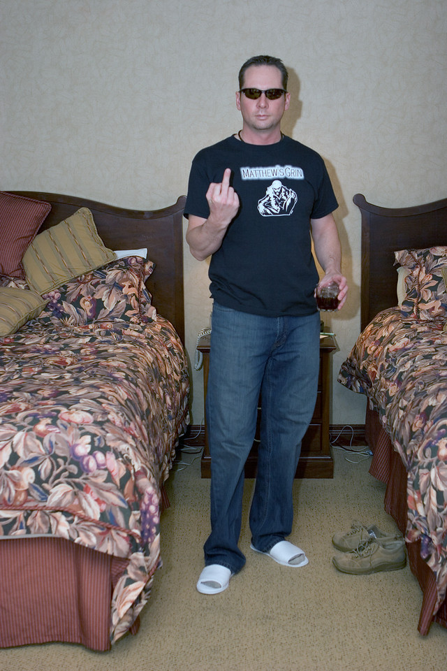 Trev with some jag in his hand. Note the white slippers.