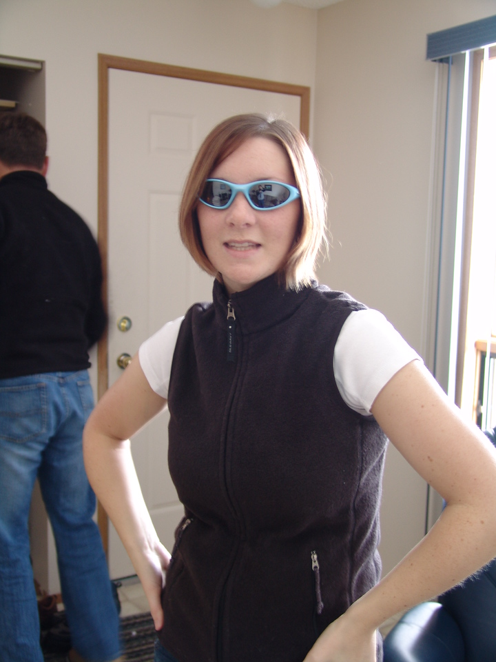 At my Dad's house sportin her new Oakley sunglasses.