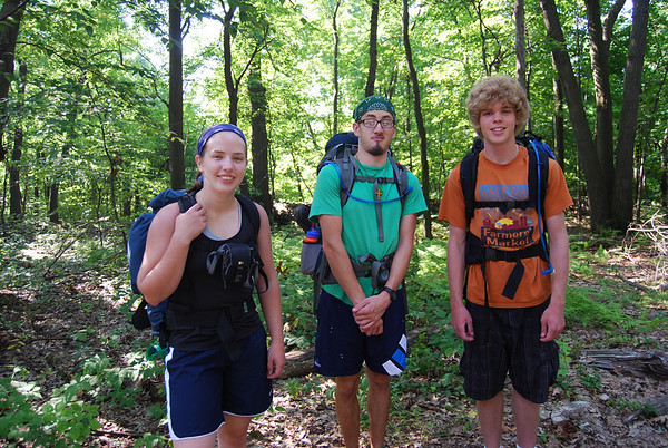 Lydia, Seth, & Matt Helmuth about to start off on their Appalachian Trail hike, 2010