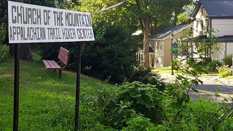Sign for a Hiker hostel in Delaware Water Gap, PA