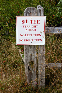 Sign at 8th tee at Highland Golf Course