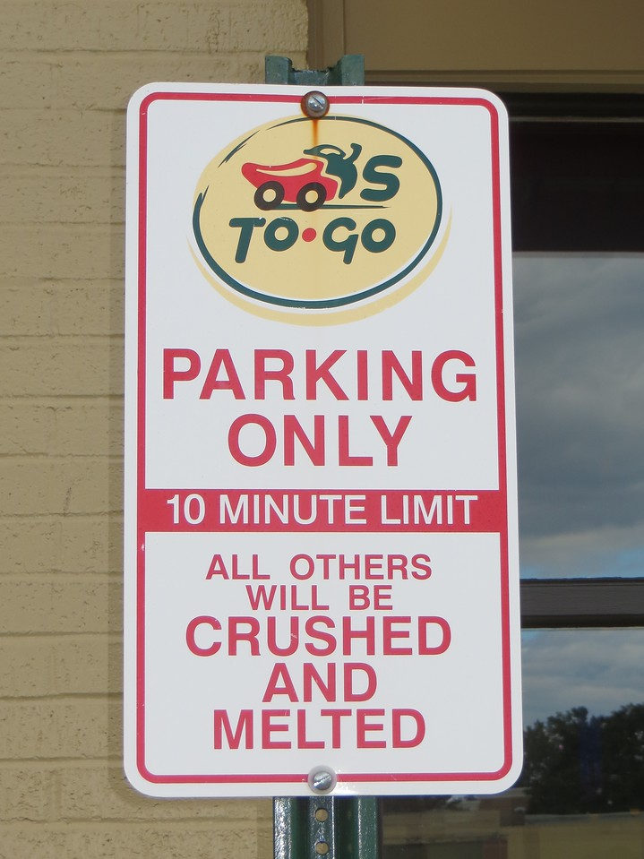 Parking area at fast food restaurant