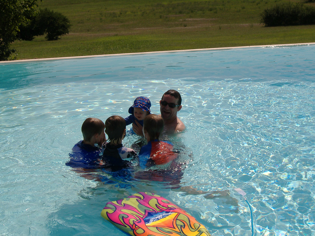 008 Giggling in the Pool with his Cousins