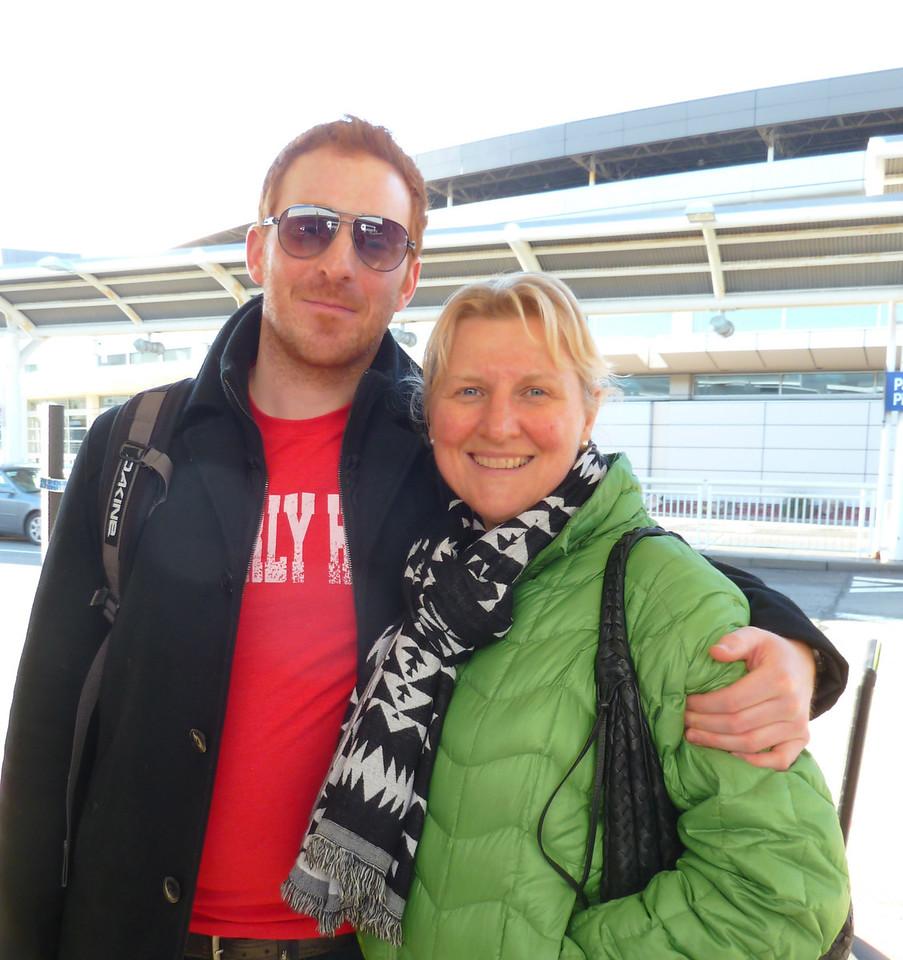 Son and Mum, one last hug.
