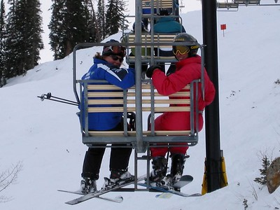 Mom and Judy on Chairlift
