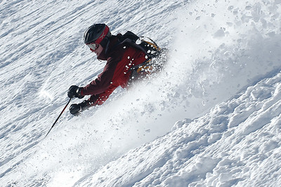 Alex skiing powder at Snowbird