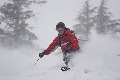 Powder skiing at Granite Chief lift area at Squaw Valley, CA