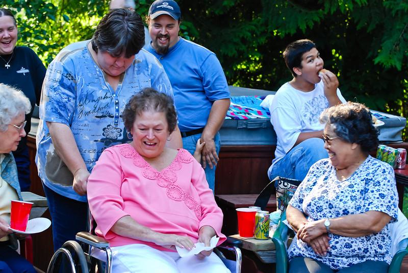 Merideth, Rita, Kerry, and Kathy, at Jakes Graduation Party at Tom's house.