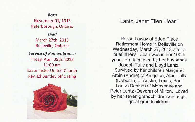 Memorial card: Jean Lantz. Front and back pages.