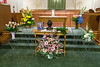 Flowers, picture and urn in the McDowell chapter named after Eastminister's founding minister.