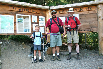 At the trailhead, Lucas, Harvey, Joel, Dad (me taking picture.)