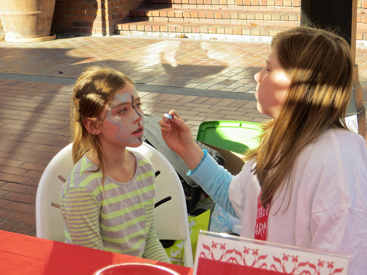 The girls had their faces painted