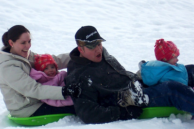 Snow sledding with the Twins