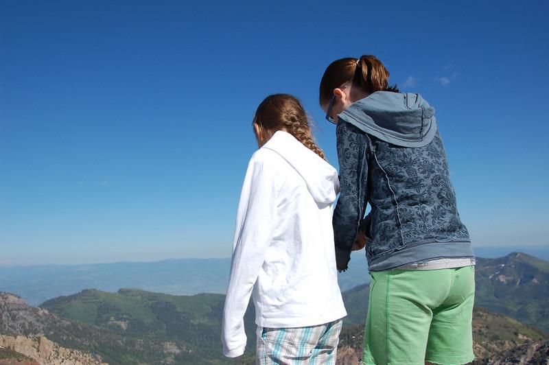 Deidra and Tiffany looking over the edge.