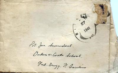 To Joe Snowdeal from a Fellow Solider Sept 26 1941