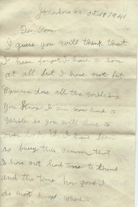 To Joseph Snowdeal from his father Willis Noble Snowdeal Oct 19 1941