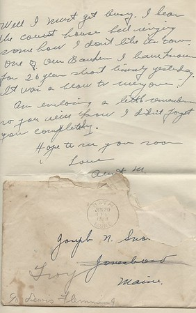 To Joseph Snowdeal from his Aunt M in Bath ME Jun 29 1939 Graduation invitation response