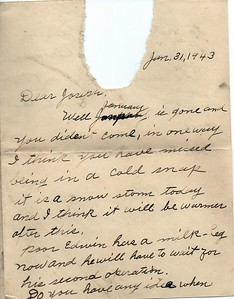 To Joseph Snowdeal from his mother Nellie Fish Snowdeal Jan 31 1943