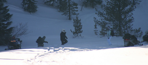 Eric and Kelsie, the first to get their sled stuck!