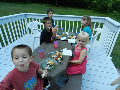 Birthday supper on Neill and Amanda's deck