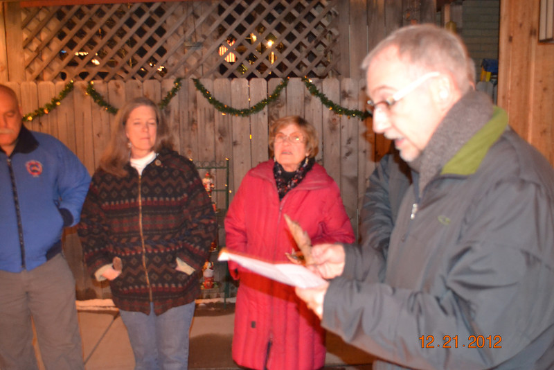 Gathered around the Solstice Fire: Patrick, Carol (Toni's Mom), Bev Rhodes, Tom.