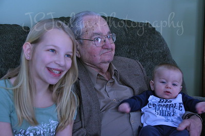 Visiting at Matt's to see recent baby, Roman.  February 17, 2013, Allen Sr, Great GrandPa killmer, Roman, Carly