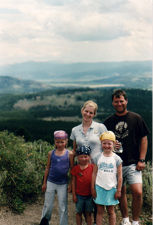 All of my son's family as of July, 2007.  The Grand Tetons from Signal Hill.